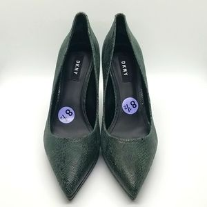 New DKNY Military Green Snakeskin Pumps